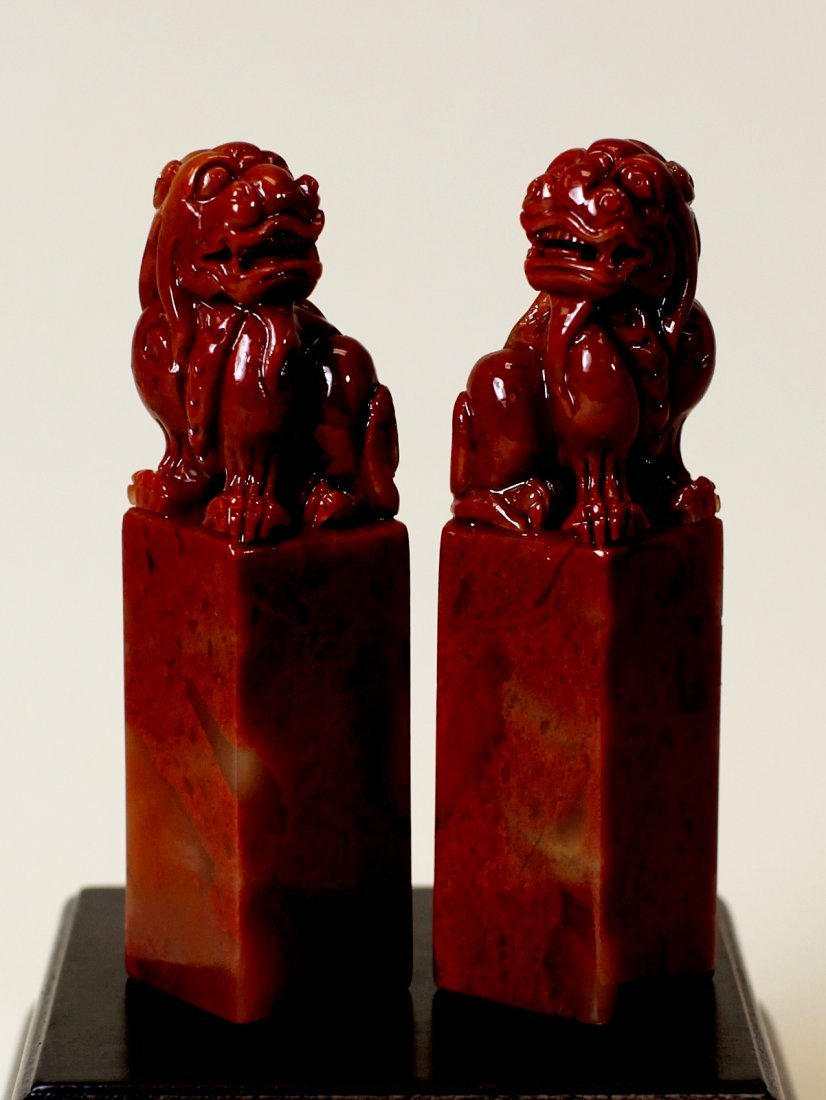 PAIR OF SHOU-SHAN HIGH-MOUNTAIN RED STONE SEALS