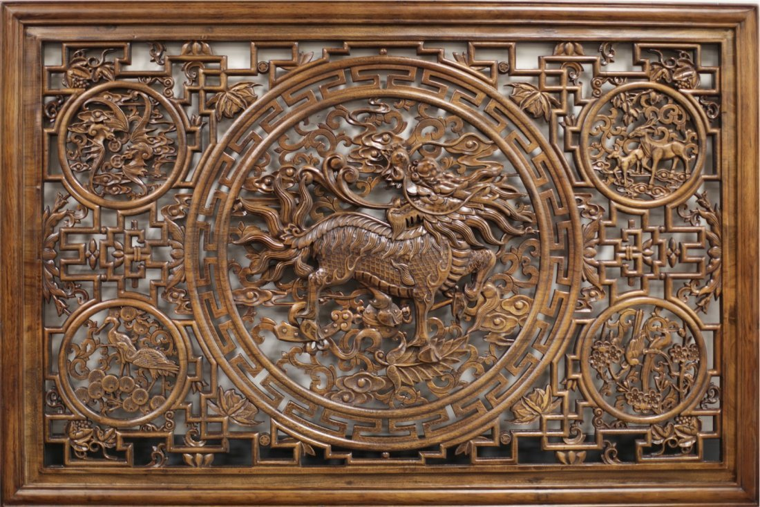 FRAMED CAMPHOR-WOOD PANEL WITH KYLIN RELIEF