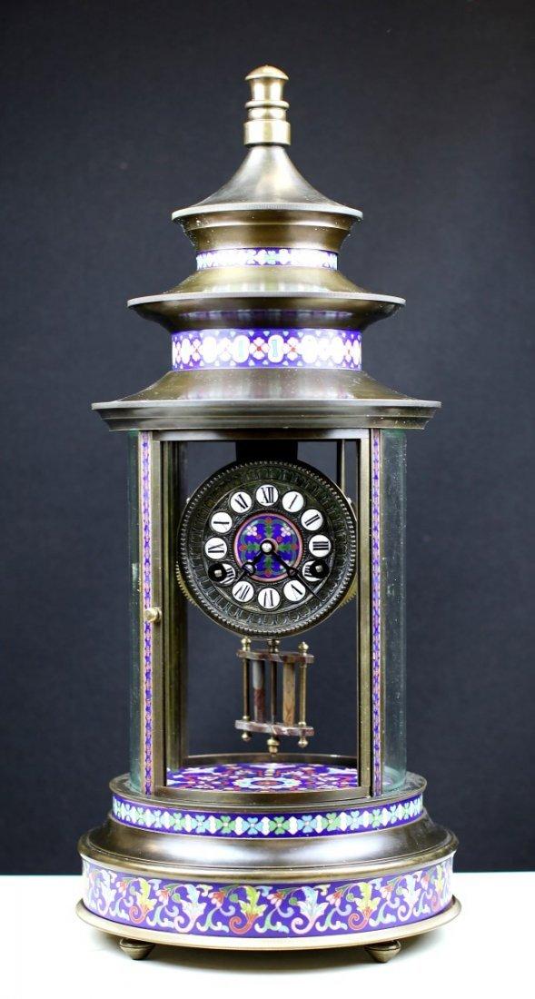 BRONZE CHIME CLOCK WITH CLOISONNE ENAMEL DECORATION