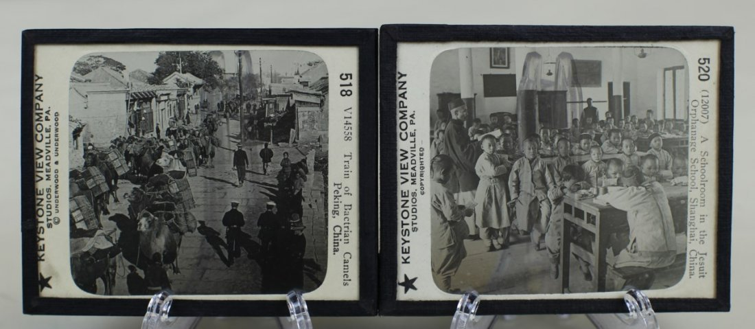 EIGHT GLASS PROJECTION SLIDES OF 19TH CENTURY CHINESE