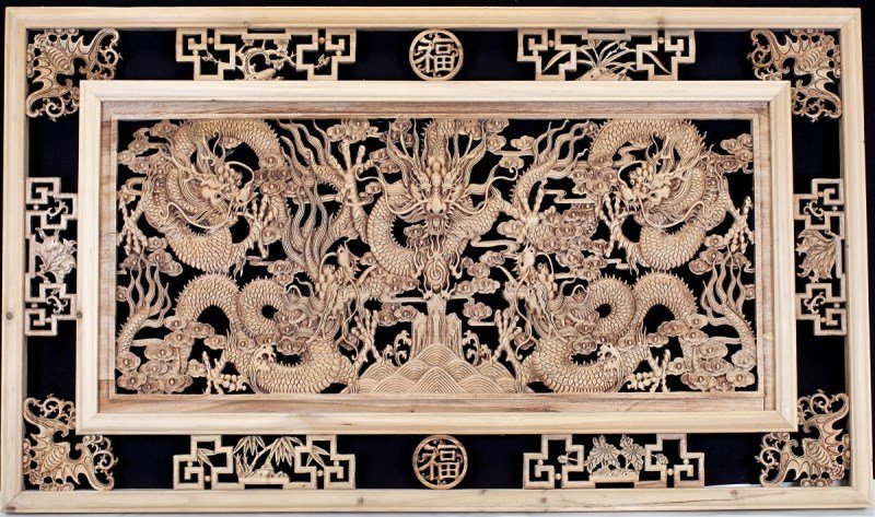 BIG CAMPHORWOOD WALL PANEL WITH DRAGON RELIEF