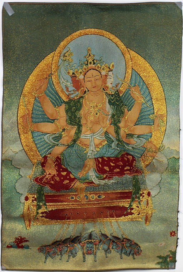 ANCIENT GOLDEN THREAD TIBETAN THANGKA