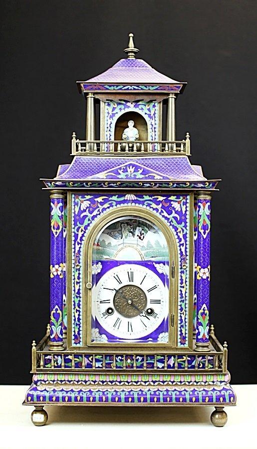 ANTIQUE CLOISONNE ENAMEL BOOTH CLOCK