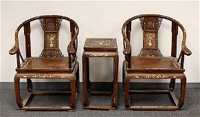 PAIR OF HUA-LI WOOD CHAIRS AND ONE SQUARE TABLE, INLAID
