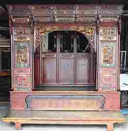 ANTIQUE PAINTED BED WITH CARVING DESIGNS