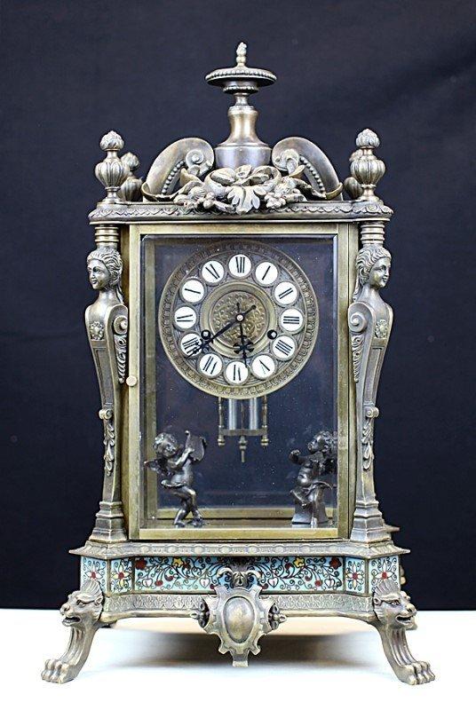 CLOISONNE ENAMAL TABLE CLOCK