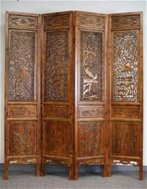 HARDWOOD FOLDING SCREEN WITH CARVED RELIEF