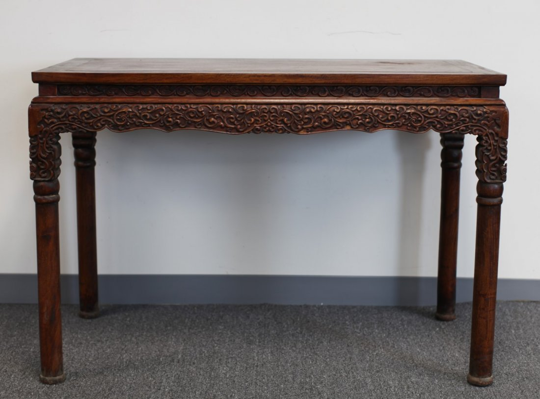 HUANG-HUA-LI WOOD TABLE WITH CARVED RELIEF