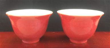 RED GLAZED PORCELAIN CUPS