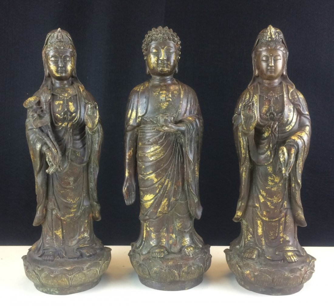 THREE BRONZE BUDDHIST STATUES