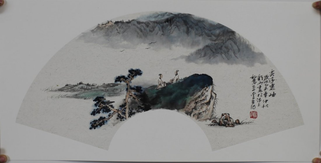 MOUNTED FAN PAINTING ON PAPER, BY PANG YU