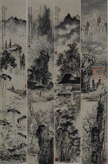 SET OF FOUR MOUNTED PAINTINGS ON PAPER, BY PANG YU