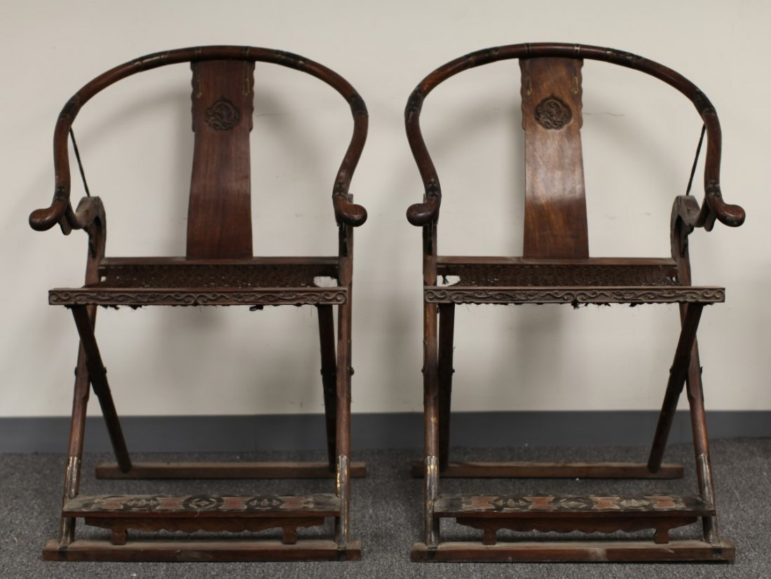 PAIR OF ROSEWOOD FOLDING CHAIR