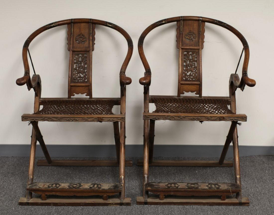PAIR OF ROSEWOOD FOLDING CHAIRS