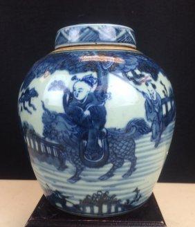 Blue And White Pocelain Pot