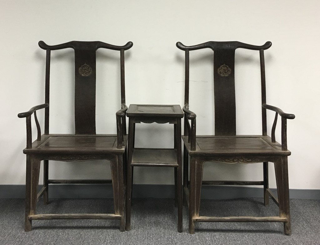 PAIR OF ROSEWOOD CHAIRS WITH TABLE