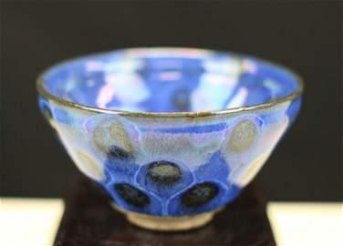PEACOCK BLUE GLAZED PORCELAIN BOWL