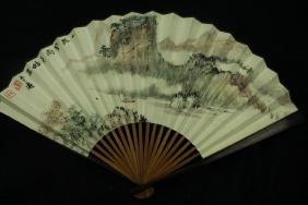 Zhang Daqian ;  Chinese water color Fan painting