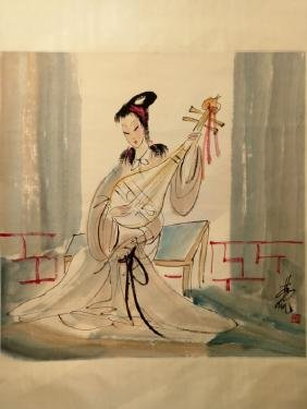 Lin Fengmian ; Chinese water color scroll painting
