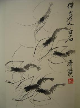 Qi baishi ; Chinese water color scroll painting