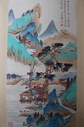 Zhang Daqian ; Chinese water color scroll painting