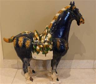 Chinese Tang style Large porcelain horse ;
