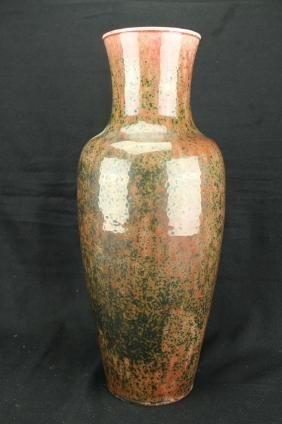 Chinese Iron red rabbit fur porcelain vase ; Qian
