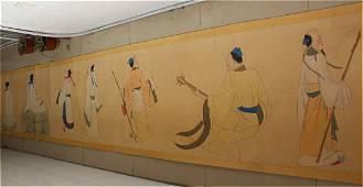"""RARE Chinese Long Painting Scroll """"Figure"""";Zhang Daqian"""