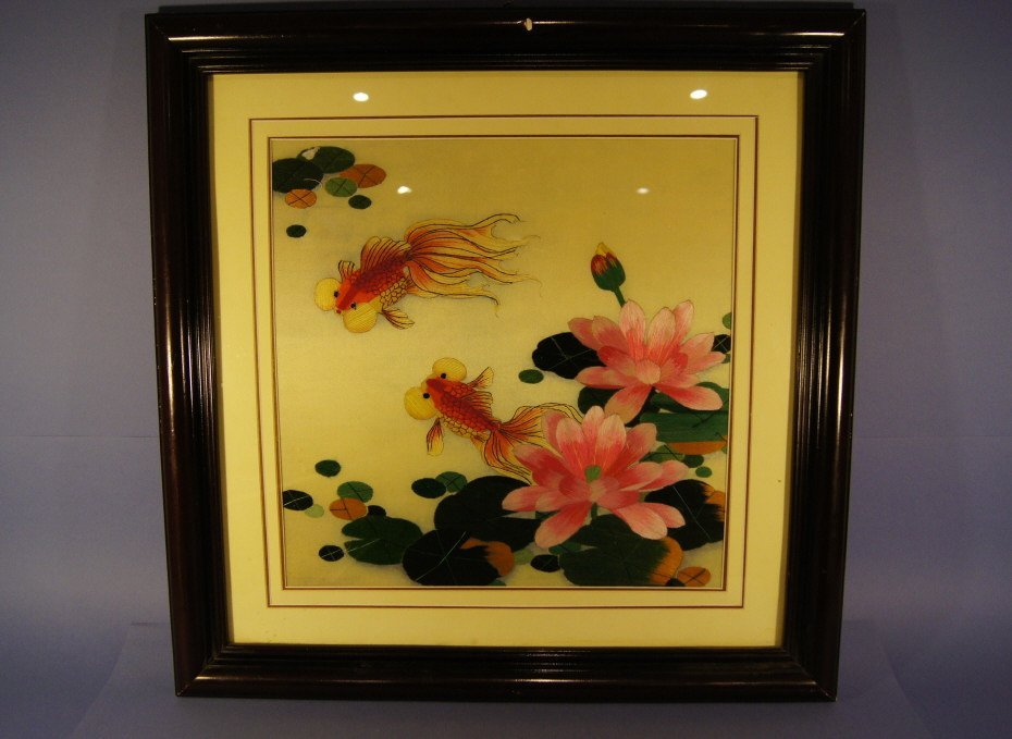 9: Chinese antique amberoid in frame