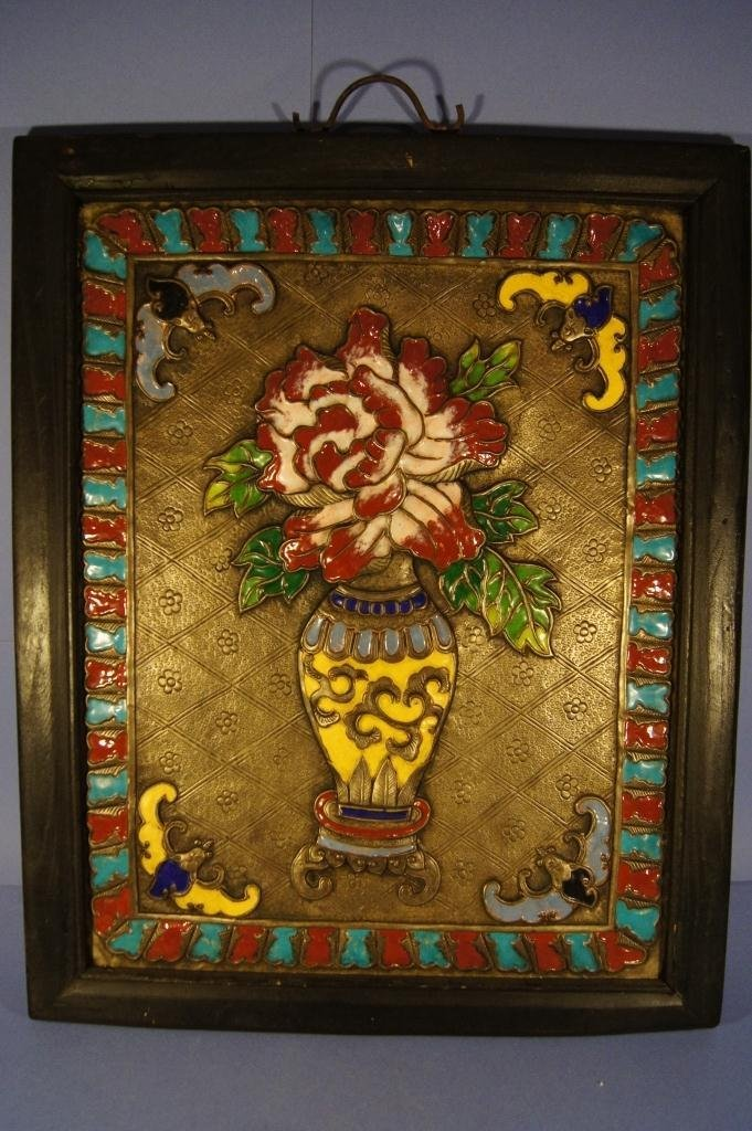 11: Chinese painted silver panel in frame