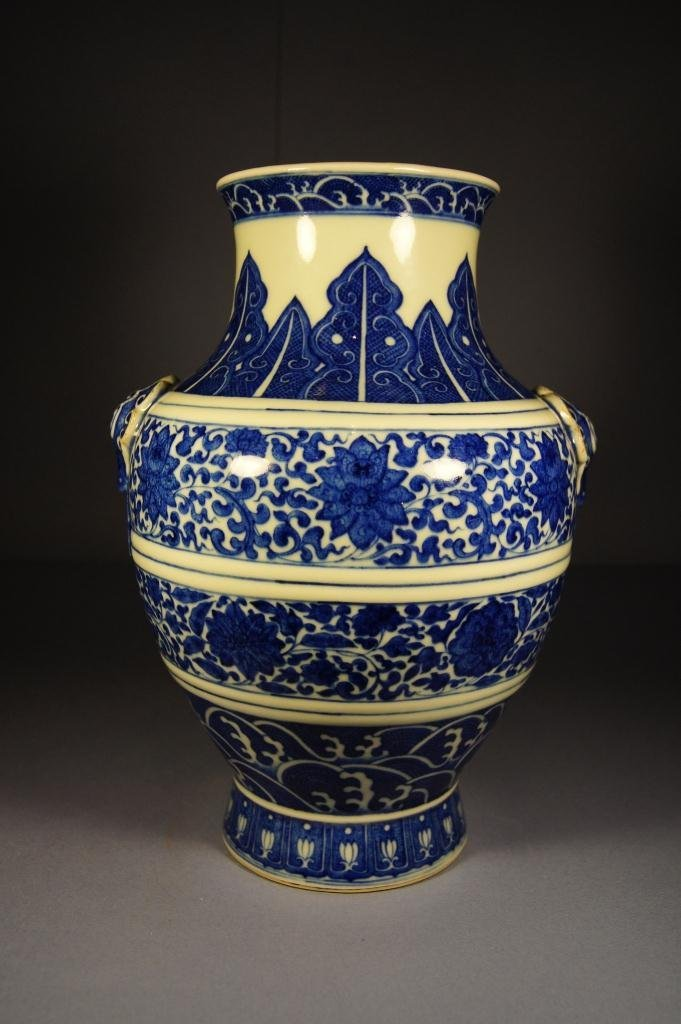 75: Chinese blue and white Hu-shape vase;19th C