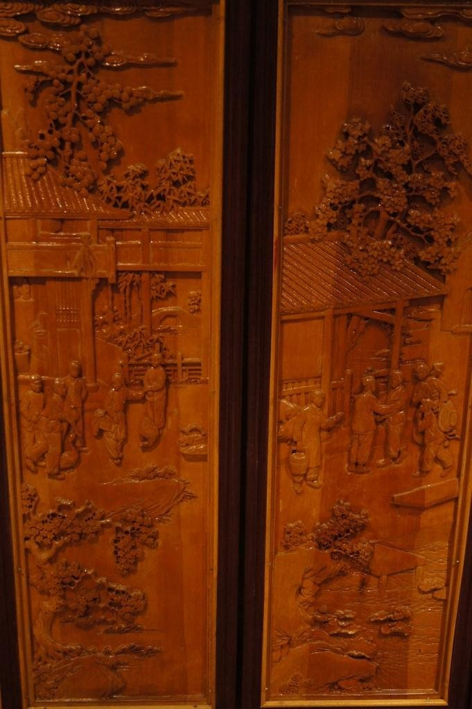 138: 4 pieces of Chinese wooden lacquered panel - 2