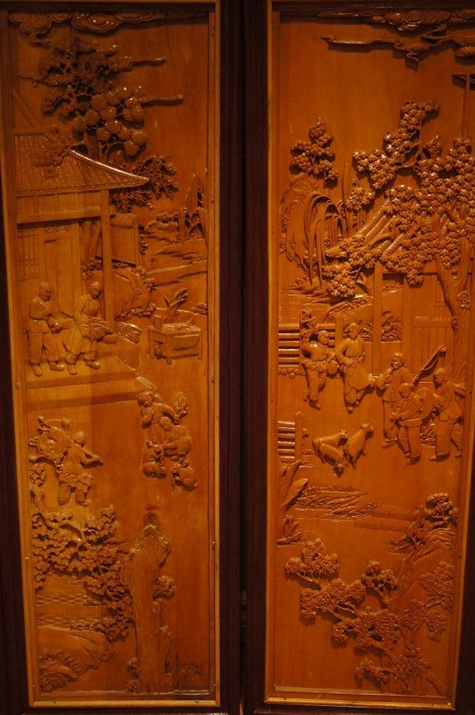 138: 4 pieces of Chinese wooden lacquered panel - 3