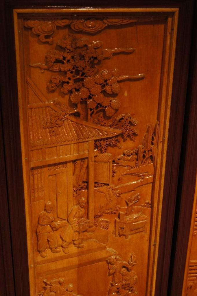 138: 4 pieces of Chinese wooden lacquered panel - 4