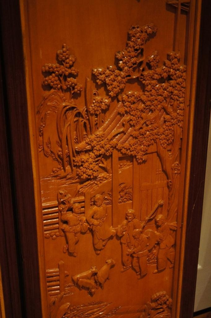 138: 4 pieces of Chinese wooden lacquered panel - 5