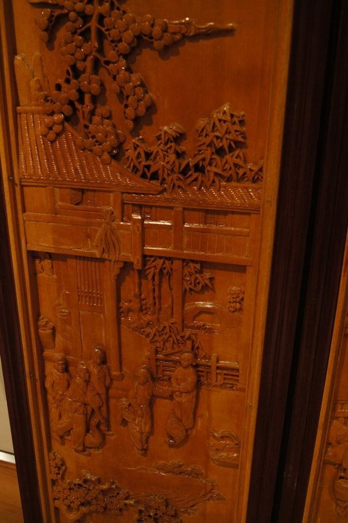 138: 4 pieces of Chinese wooden lacquered panel - 6