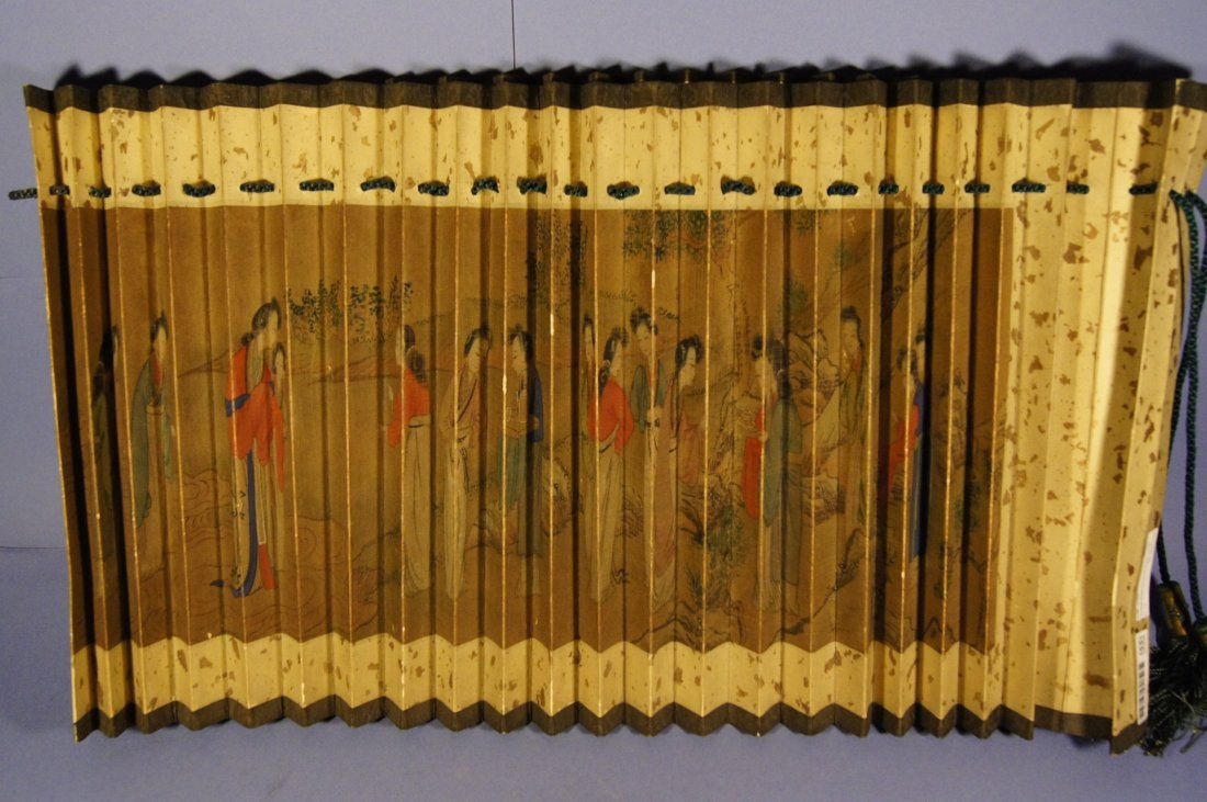 12A: Chinese antique watercolor on paper lamp cover