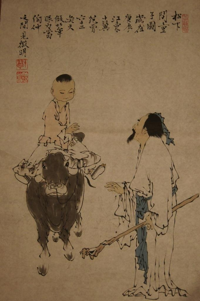 6: Chinese watercolour painting; ink and colour