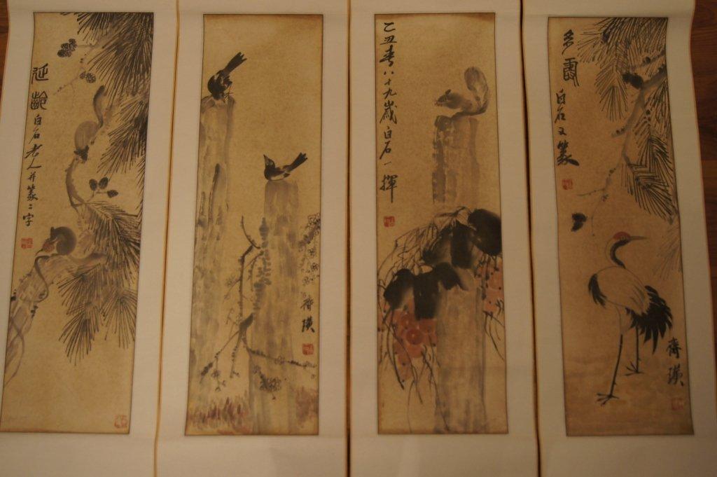8: 4 pcs of Chinese watercolor scroll, Qi BaiShi