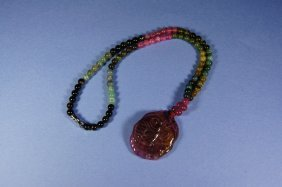 Chinese Antique Tourmaline Necklace