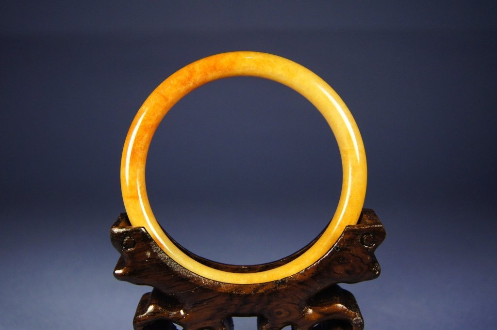 52: Chinese antique reddish jade bangle