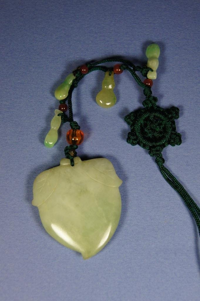 56: Chinese antique green jade pendant