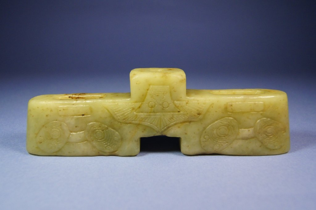 66: Chinese antique green jade sword guard