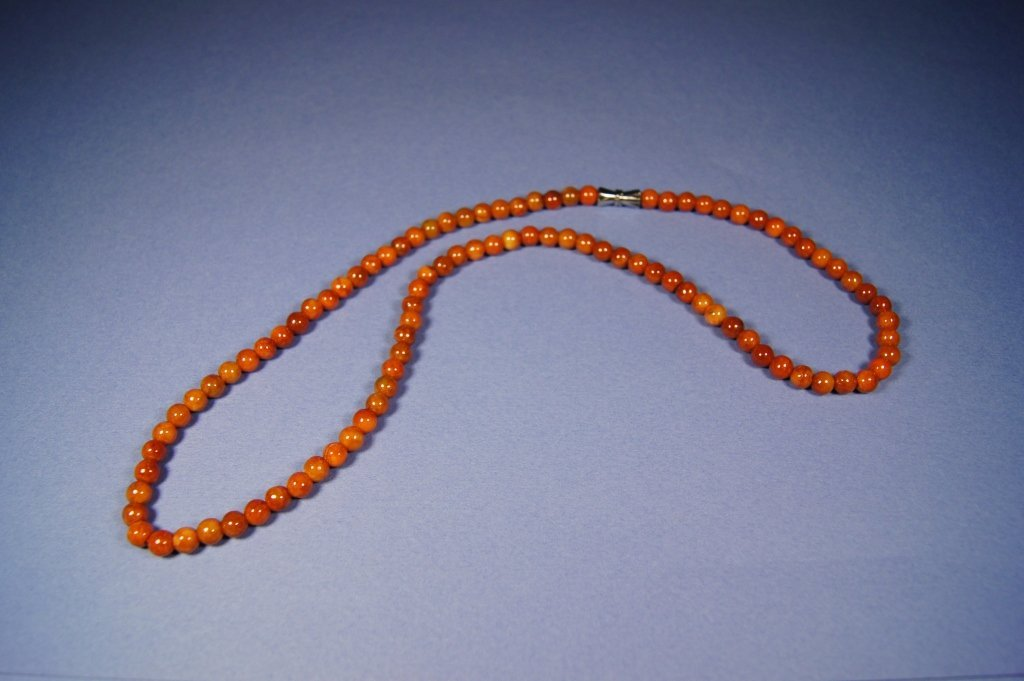 67: Chinese antique red jade necklace