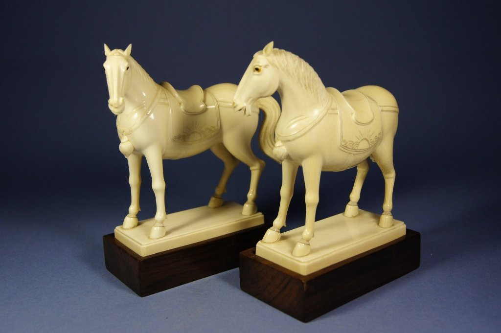 298: Pair of Chinese Ivory horses