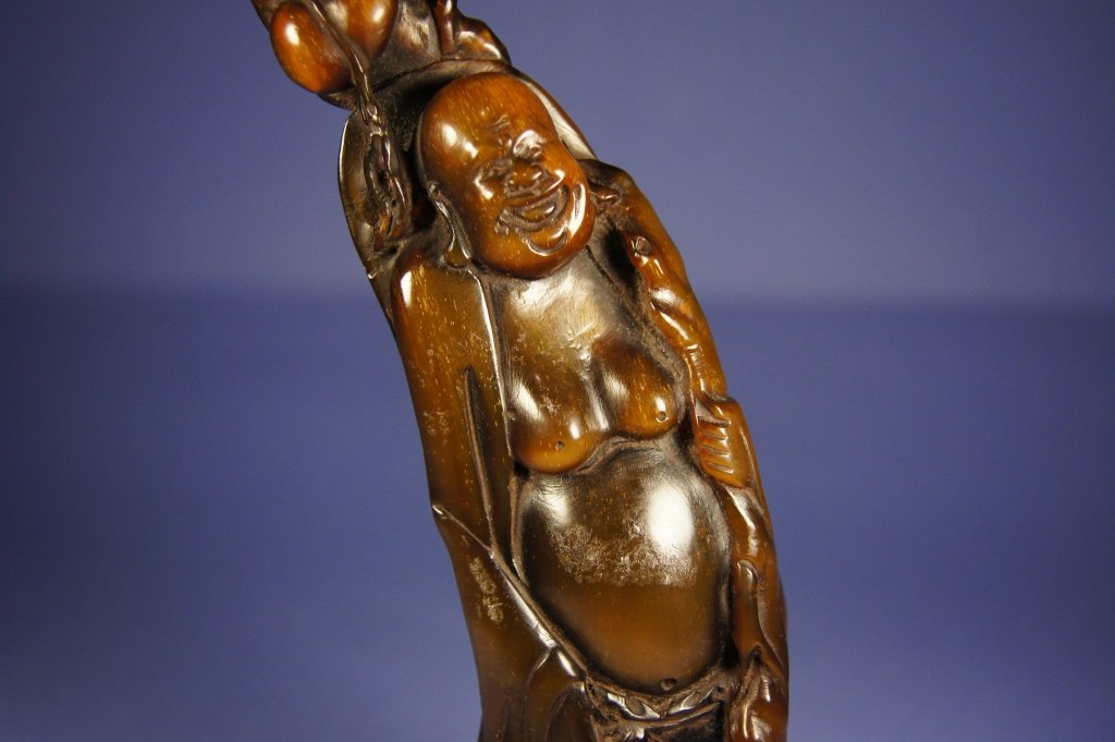 306: Chinese Qing Dynasty horn carved Buddha - 4
