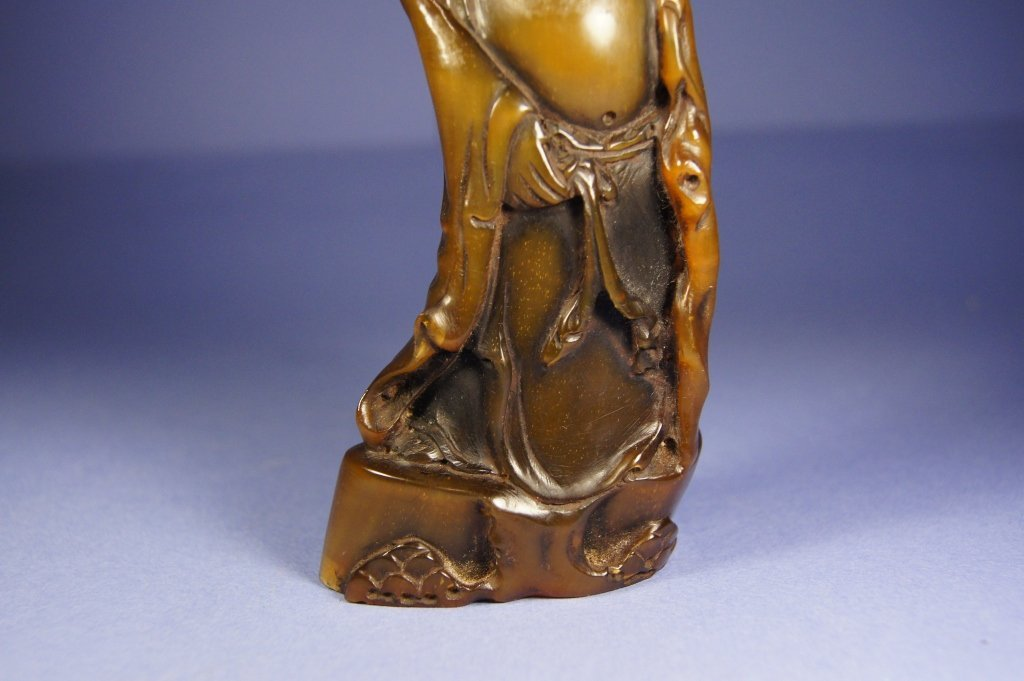306: Chinese Qing Dynasty horn carved Buddha - 5
