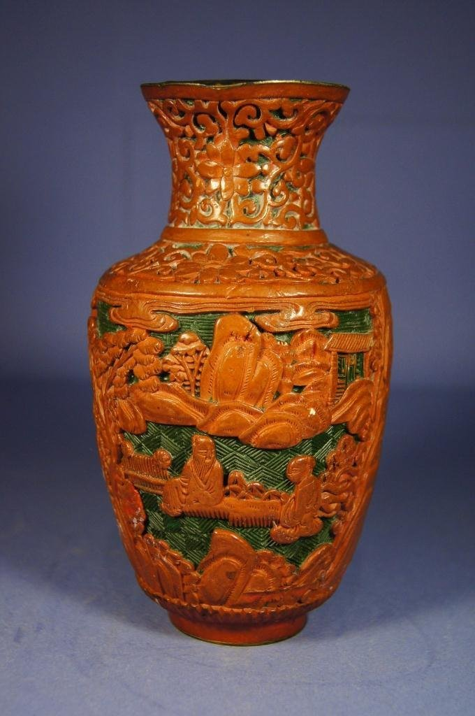 2: Chinese antique cinnabar lacquer vase