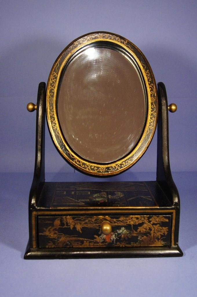 3: Chinese antique lacquer ware table mirror
