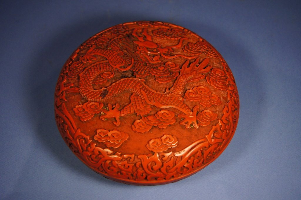4: Chinese antique cinnabar lacquer ware box